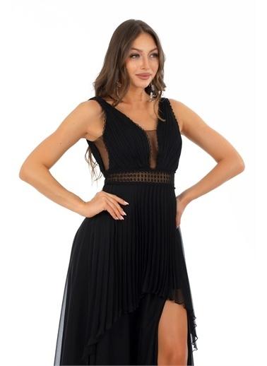 Carmen Şifon Beli Dantelli Uzun Abiye Elbise Siyah